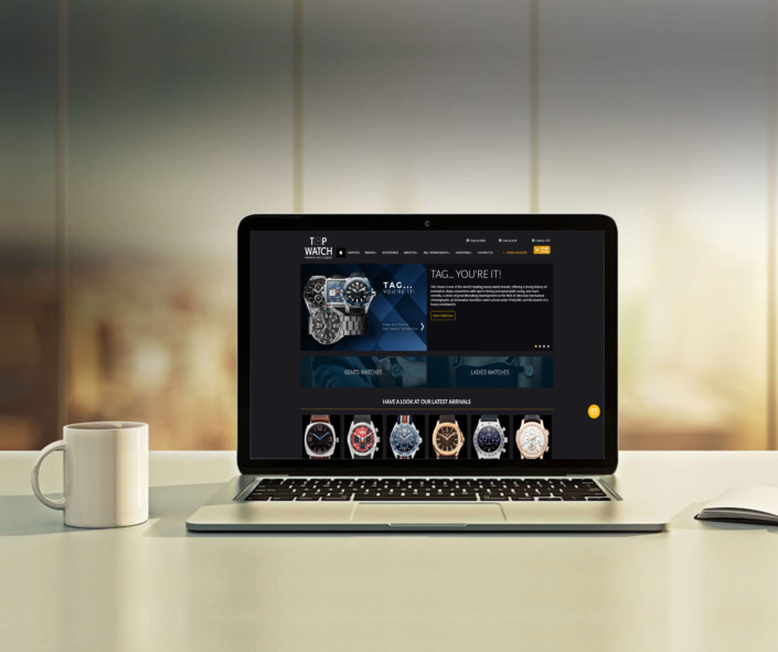 Topwatch Tag Heuer banner on home page